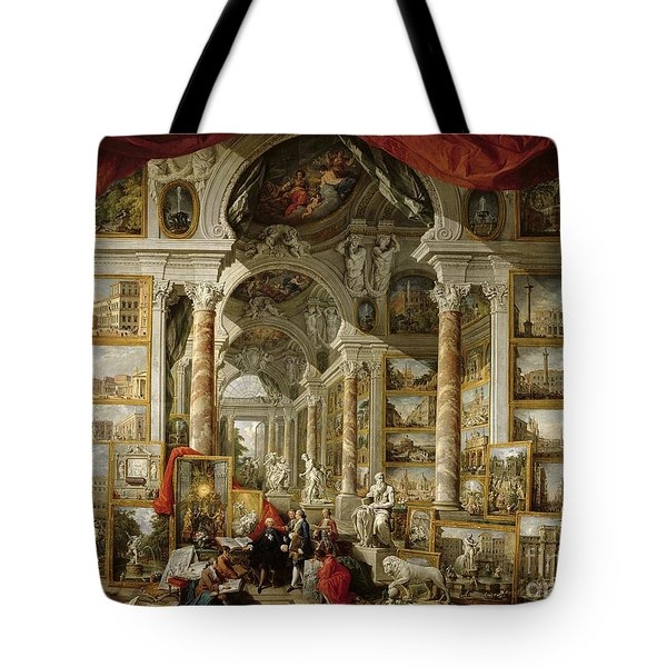 Gallery With Views Of Modern Rome Tote Bag by Panini