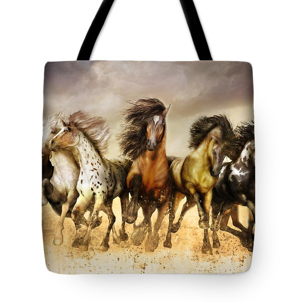 Galloping Horses Full Color Tote Bag
