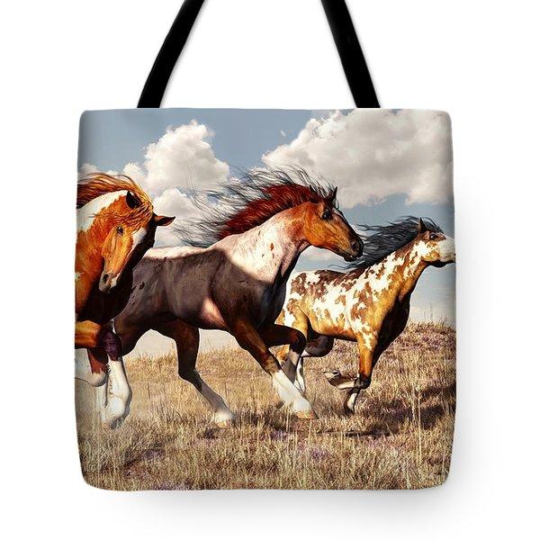Galloping Mustangs Tote Bag