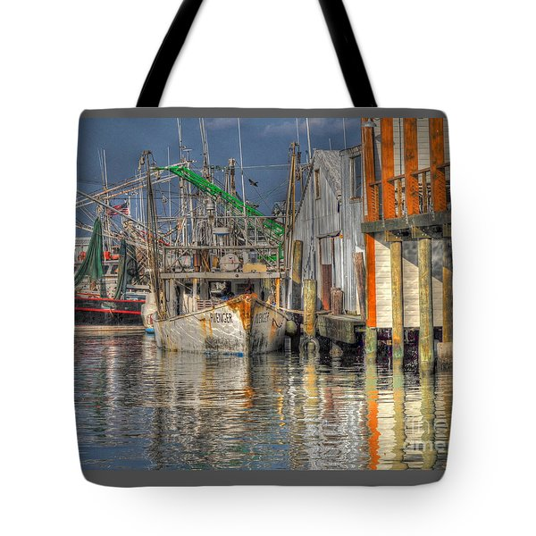 Tote Bag featuring the photograph Galveston Shrimp Boats by Savannah Gibbs