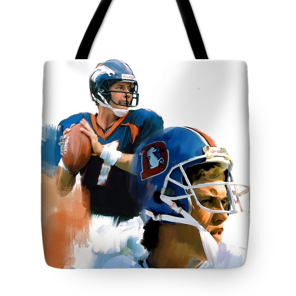 Tote Bag featuring the painting Game Elway  John Elway by Iconic Images Art Gallery David Pucciarelli