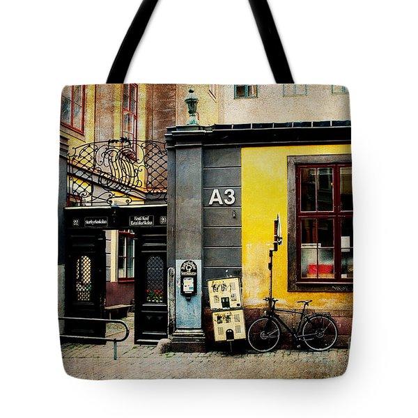 Gamla Stan Street Tote Bag by Joan McCool