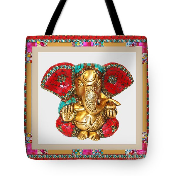 Ganapati Ganesh Idol Hinduism Religion Religious Spiritual Yoga Meditation Deco Navinjoshi  Rights M Tote Bag