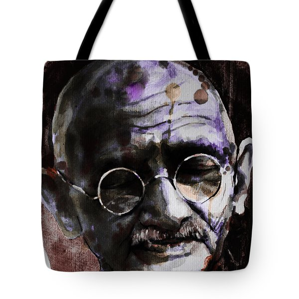 Tote Bag featuring the painting Gandhi by Laur Iduc