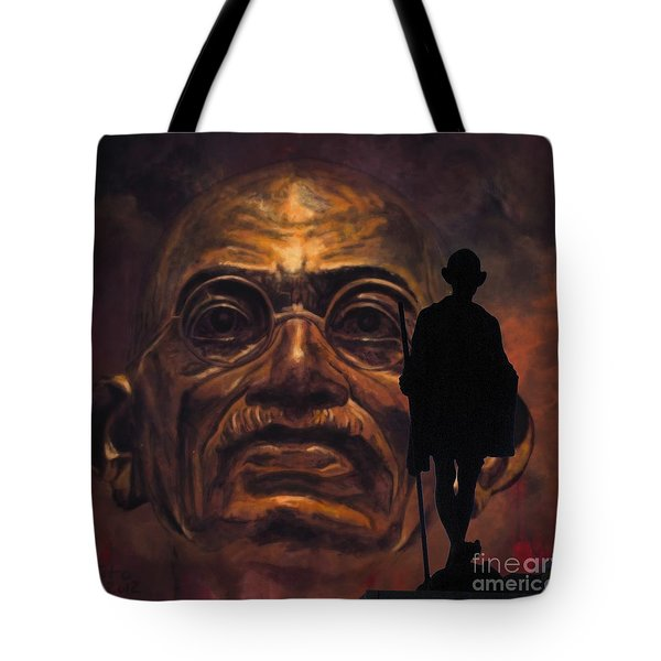 Gandhi - The Walk Tote Bag by Richard Tito