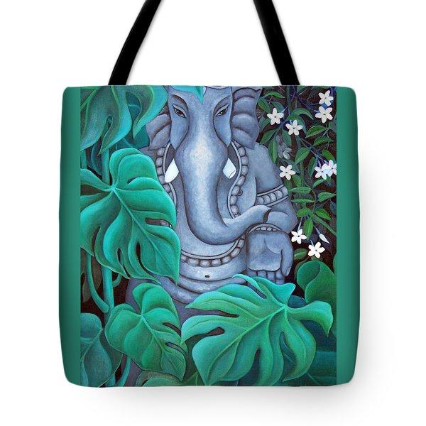 Ganesh With Jasmine Flowers 2 Tote Bag by Vishwajyoti Mohrhoff