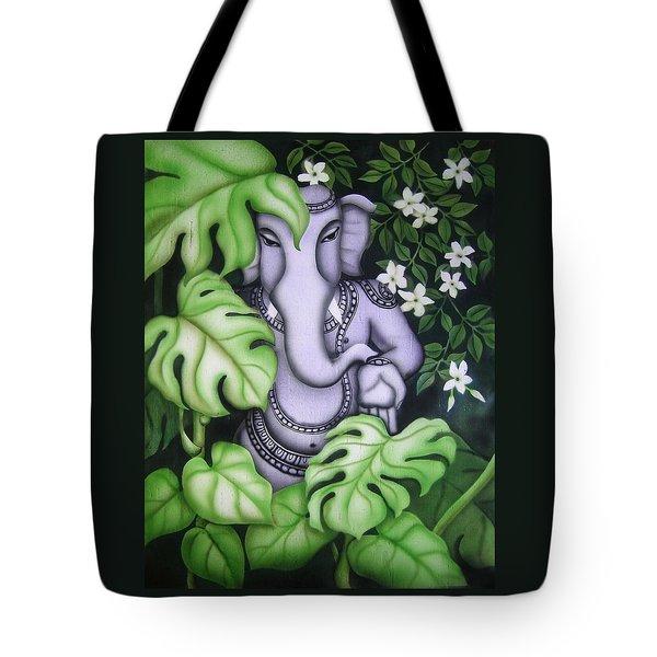 Ganesh With Jasmine Flowers Tote Bag by Vishwajyoti Mohrhoff