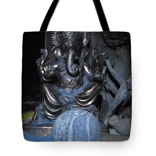 Ganesha And The Rock Of The Mystic Tote Bag by Agnieszka Ledwon
