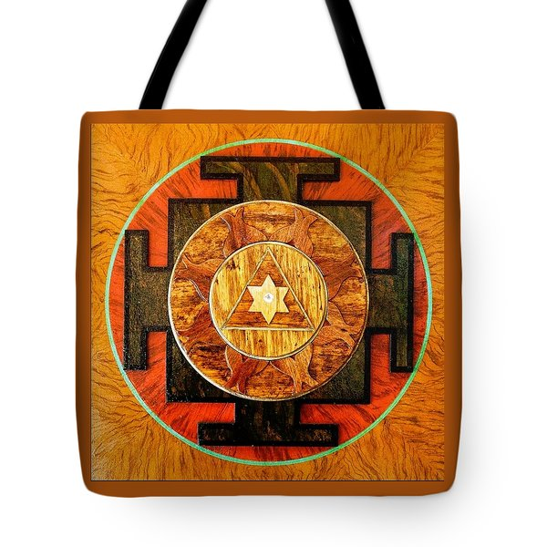 Ganesha Sacred 3d High Relief Artistically Crafted Wooden Yantra    23in X 23in Tote Bag by Peter Clemens