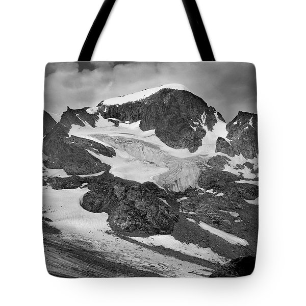 509427-bw-gannett Peak And Gooseneck Glacier, Wind Rivers Tote Bag