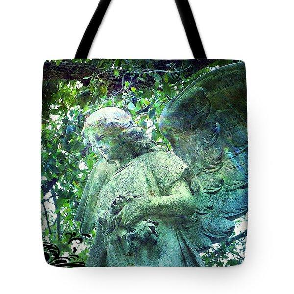 Tote Bag featuring the digital art Garden Angel - Divine Messenger by Absinthe Art By Michelle LeAnn Scott