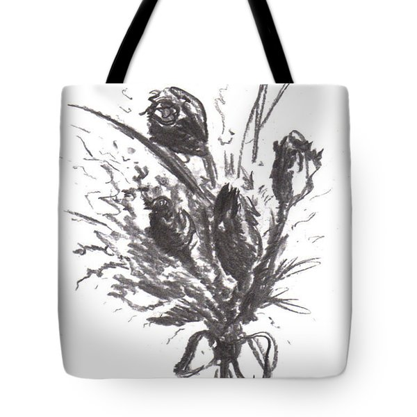 Tote Bag featuring the drawing Garden Beauty by Laurie Lundquist