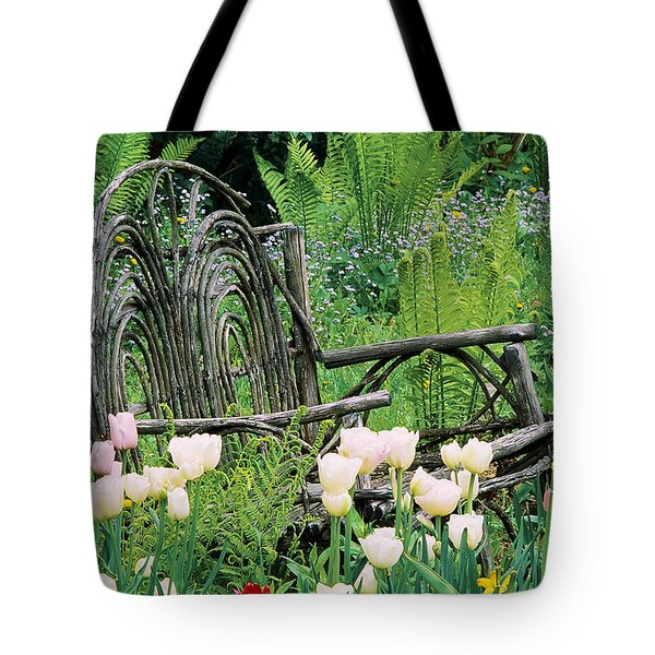 Garden Bench Tote Bag by Alan L Graham