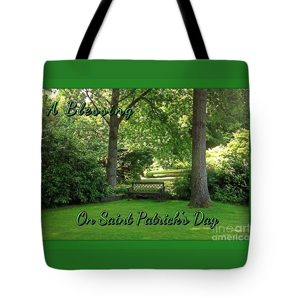 Garden Bench On Saint Patrick's Day Tote Bag