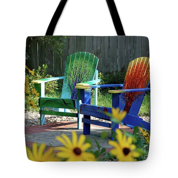 Garden Chairs Tote Bag by First Star Art
