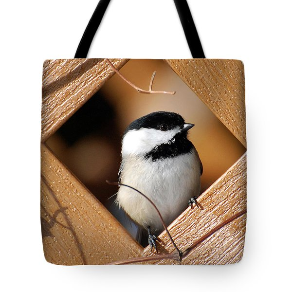 Garden Chickadee Tote Bag by Christina Rollo