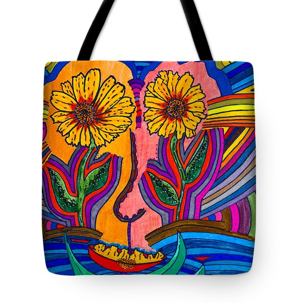 Garden Face - Lotus Pond - Daisy Eyes Tote Bag