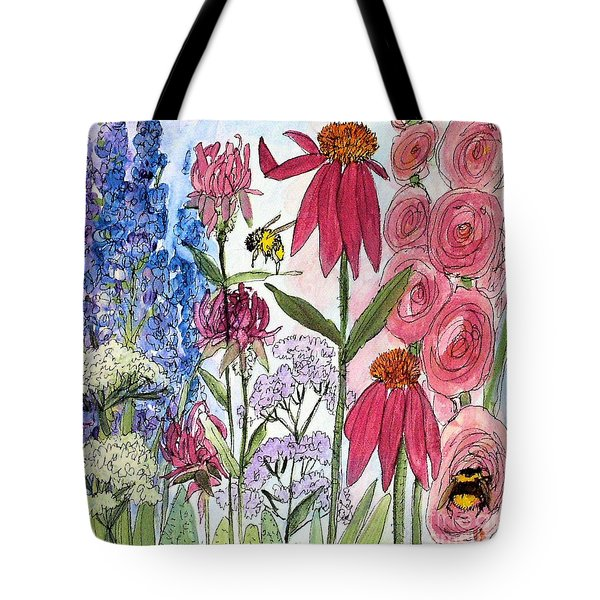 Garden Flower And Bees Tote Bag