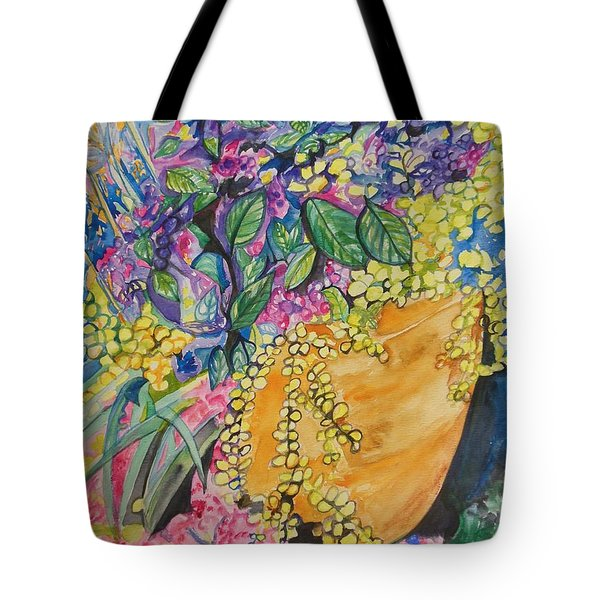 Garden Flowers In A Pot Tote Bag by Esther Newman-Cohen