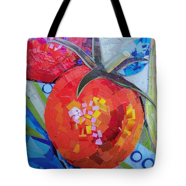 Tote Bag featuring the mixed media Garden Harvest Collage Detail by Shawna Rowe