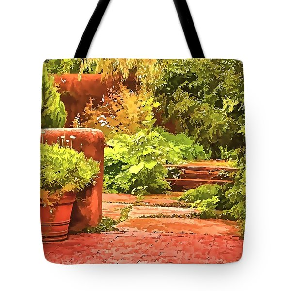 Tote Bag featuring the painting Garden by Muhie Kanawati