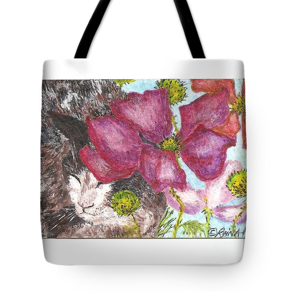 Tote Bag featuring the painting Garden Nap by Reina Resto