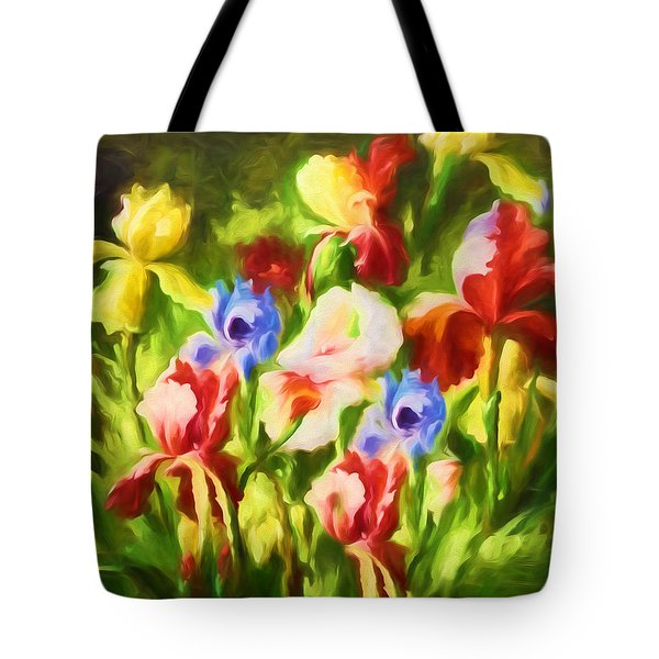 Tote Bag featuring the painting Garden Of Blooms by Isabella Howard