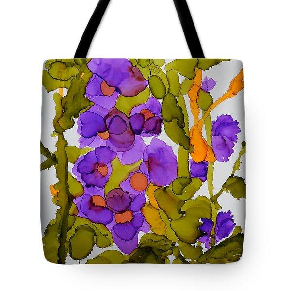 Garden Of Hollyhocks Tote Bag by Vicki  Housel