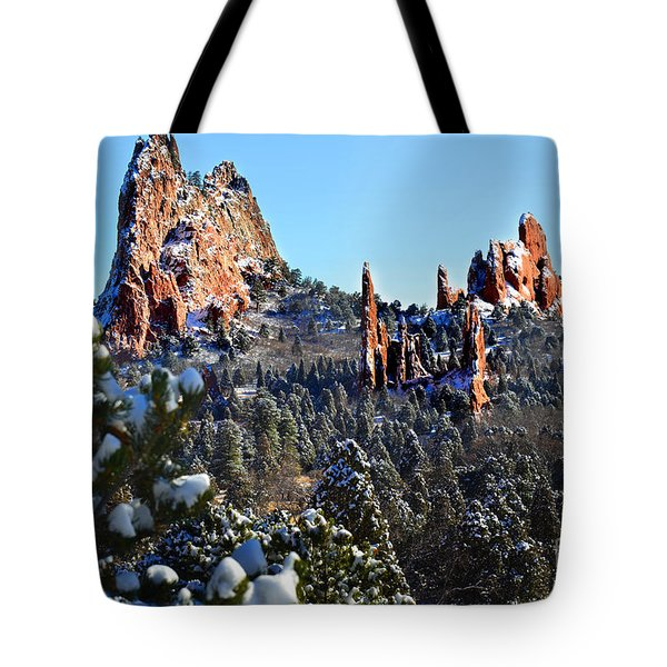 Tote Bag featuring the photograph Garden Of The Gods After Snow Colorado Landscape by Jon Holiday