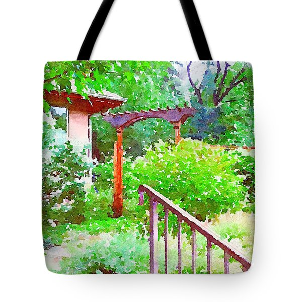 Garden Path With Arbor Tote Bag