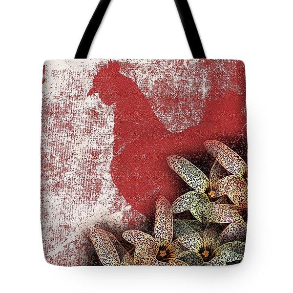 Garden Rooster Tote Bag