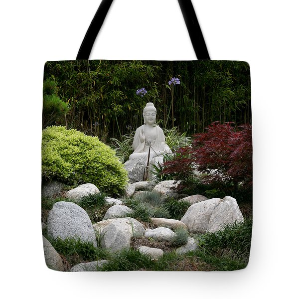 Tote Bag featuring the photograph Garden Statue by Art Block Collections