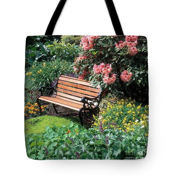 Garden With Bench Tote Bag by Hans Reinhard