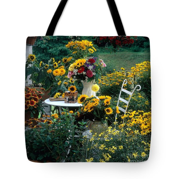 Garden With Table And Chair Tote Bag by Hans Reinhard