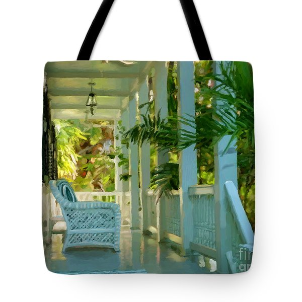 Tote Bag featuring the painting Gardens Porch In Key West by David  Van Hulst