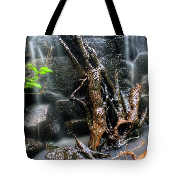 Tote Bag featuring the photograph Garland Falls Dam V - Hdr by Greg DeBeck