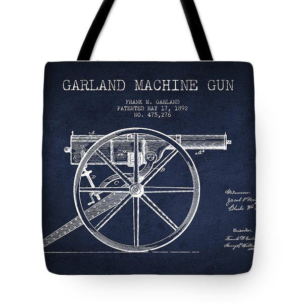 Garland Machine Gun Patent Drawing From 1892 - Navy Blue Tote Bag