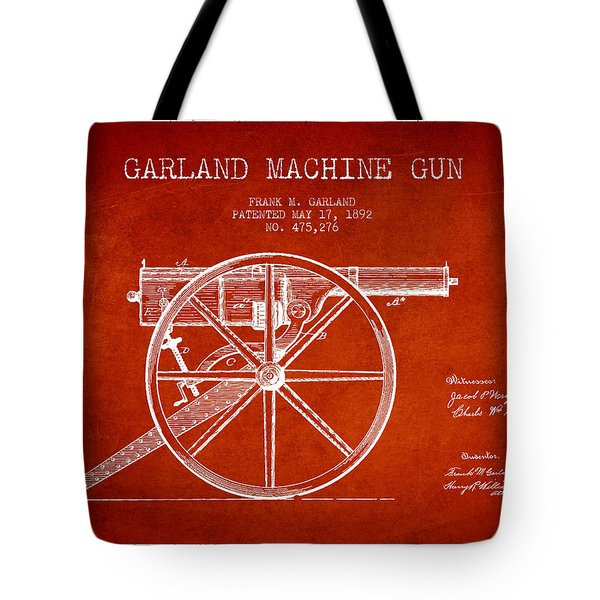 Garland Machine Gun Patent Drawing From 1892 - Red Tote Bag