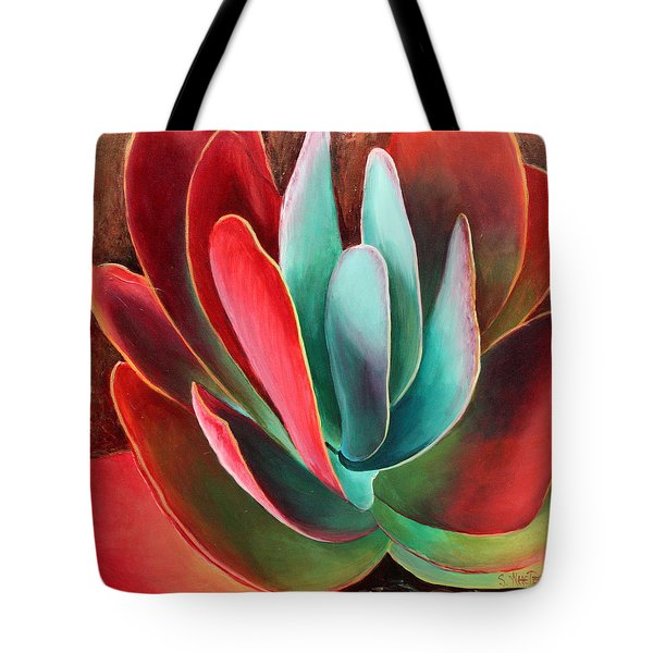 Tote Bag featuring the painting Garnet Jewel by Sandi Whetzel
