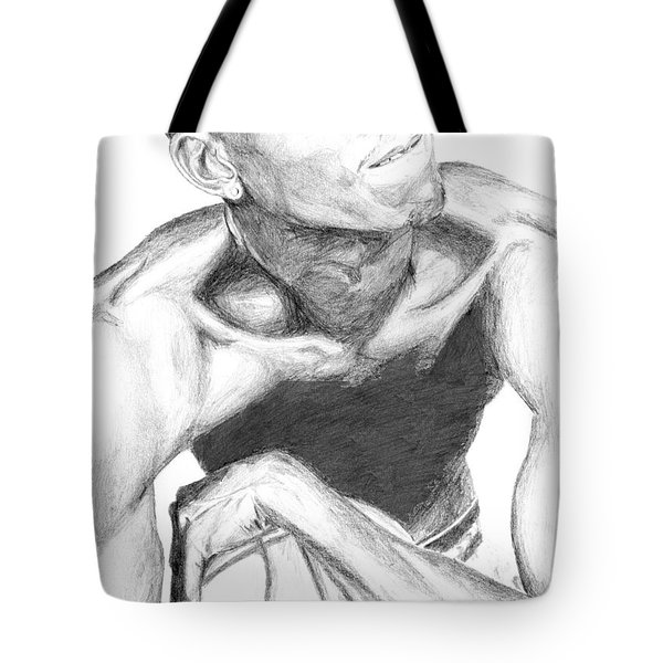 Tote Bag featuring the drawing Garnett 2 by Tamir Barkan