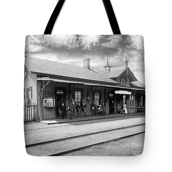 Garrison Train Station In Black And White Tote Bag