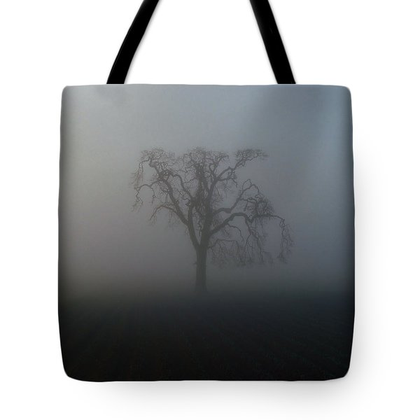 Tote Bag featuring the photograph Garry Oak In Fog by Cheryl Hoyle