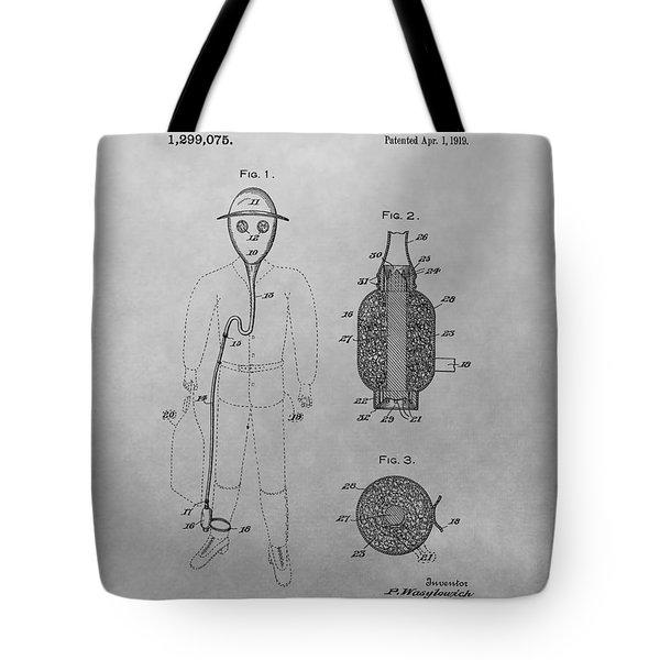 Gas Mask Patent Drawing Tote Bag