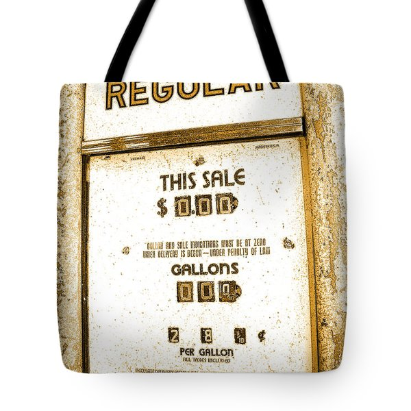 Tote Bag featuring the photograph Gasoline Pump Of Yesteryear by A Gurmankin