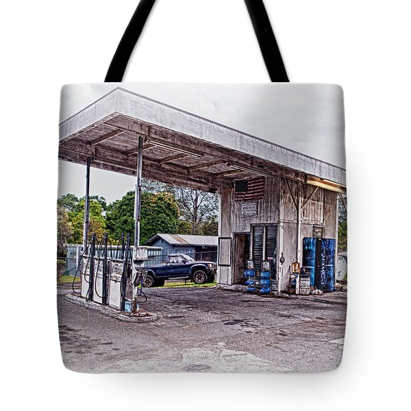 Tote Bag featuring the photograph Gasoline Station by Jim Thompson