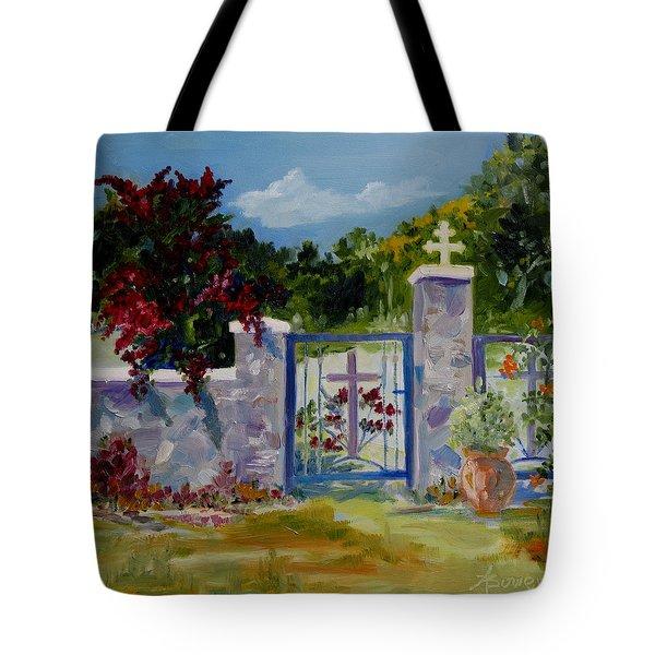Gate At Tharri Monastery - Rhodes Tote Bag