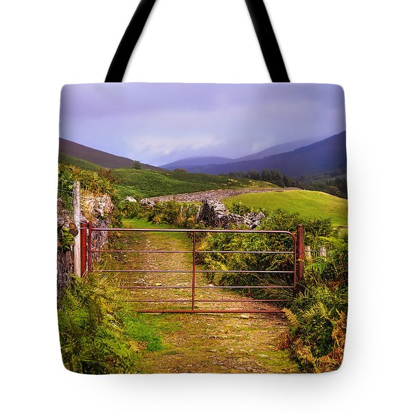 Gates On The Road. Wicklow Hills. Ireland Tote Bag by Jenny Rainbow