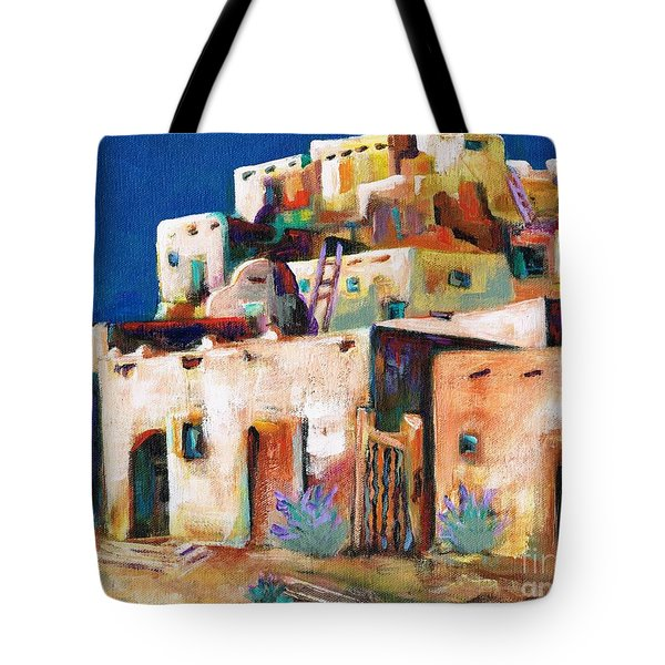 Gateway Into  The  Pueblo Tote Bag by Frances Marino