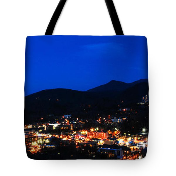 Gatlinburg Skyline At Night Tote Bag by Nancy Mueller