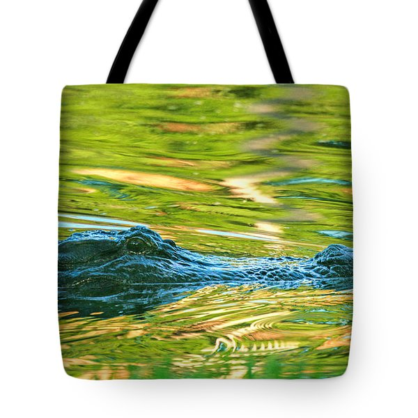 Gator In Pond Tote Bag